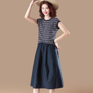 素木撞色條紋短袖t恤<span class=H>女裝</span>2019新款潮半身長裙兩件套夏裝 時尚W283