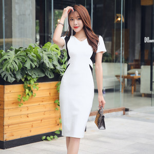 裙子女2019夏季新款黑白撞色显瘦修身中长款气质OL拼接包臀<span class=H>连衣裙</span>