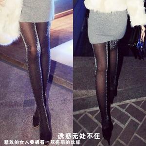 主播性感银丝闪光黑丝袜发光诱惑超薄丝袜情趣性感连裤袜潮袜女夏