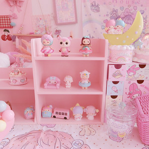 粉色少女心木制置物架 桌面化妆品收纳盒 双层三层娃娃收纳展示柜