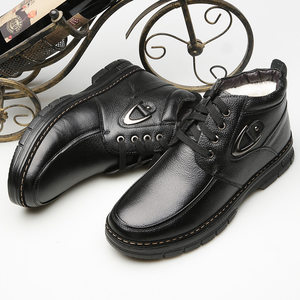新款秋冬季个性新品男加绒保暖<span class=H>雪地靴</span>男靴子男青年商务皮鞋