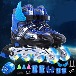 瑞士真好直排<span class=H>溜冰鞋</span>儿童可调男童女童闪光<span class=H>轮滑鞋</span>全套旱冰鞋初学者