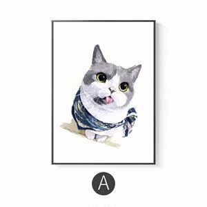 墙壁餐厅温馨猫和鱼背景<span class=H>墙面</span>北欧墙画墙壁风饭厅客厅厨房装饰画画