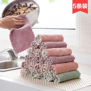 巧居家不掉毛吸水洗碗布5条装 厨房加厚清洁毛巾擦手巾不沾油<span class=H>抹布</span>