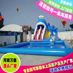 儿童充气水池动漫水乐园水上充气冲关组合水滑梯户外可移动<span class=H>游泳池</span>