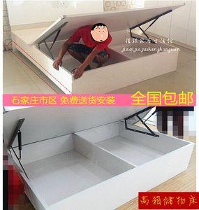 实木高箱床低箱地暖床体双人气动床储物婚床液压杆骨架床松木定做