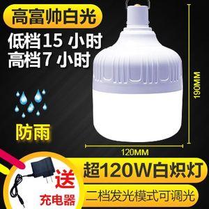 充电<span class=H>灯泡</span>家庭灯超亮户外防水野营灯一体式节能灯摇控地摊蓄