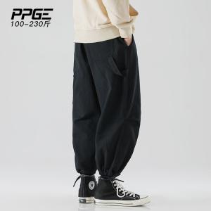 ppge<span class=H>男装</span>大码工装裤男春季特宽束脚休闲裤男士宽松哈伦裤男小脚裤