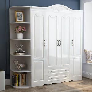 欧式衣柜简约现代二门三门四门柜子卧室五门白色实木质板式衣橱