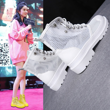 Summer-style Korean-style hollow-out mesh boots, Martin boots and boots, comfortable flat-soled casual shoes, sandals, locomotives and women's shoes