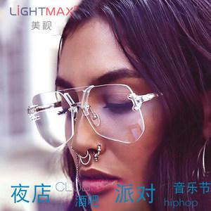 明星同款大框防蓝光眼镜潮流多边形眼镜架男女款无框成品<span class=H>近视镜</span>