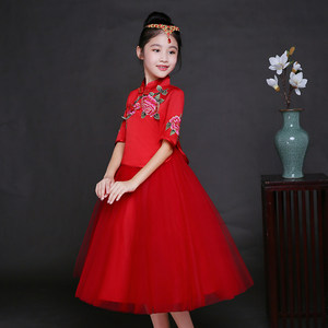 女童秀禾服春装红色中袖<span class=H>公主裙</span>古筝演出服儿童生日晚会表演晚礼服