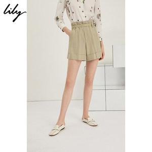 Lily2019夏新款女装清新绿色条纹修身翻边工装<span class=H>短裤</span>119220C5170