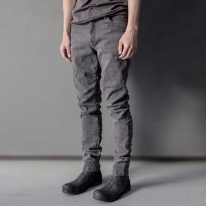 XIACHI<span class=H>牛仔裤</span>男士修身小脚裤子深灰色弹力长裤水洗做旧日系复古