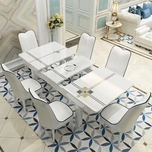 可伸缩<span class=H>餐桌</span>椅组合现代简约小户型实木长方形家用带电磁炉<span class=H>餐桌</span>折叠