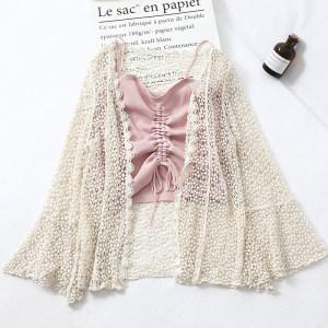 E241防晒开衫女夏装新品镂空针织罩衫空调衫打底小吊带<span class=H>两件套</span>上衣