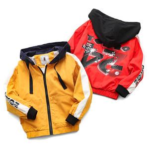 S 男童拼接外套中大童连帽长袖<span class=H>夹克</span>衫休闲拉链衫110-160
