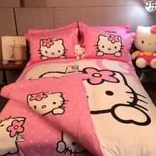 All-cotton four-piece girl Princess wind Pink Princess wind pure cotton three-piece cartoon children's bedding cute