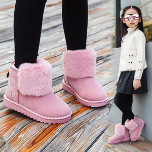 儿童女童雪地<span class=H>靴子</span>韩版短靴小中大童公主冬季<span class=H>棉鞋</span>加绒加厚防水防滑