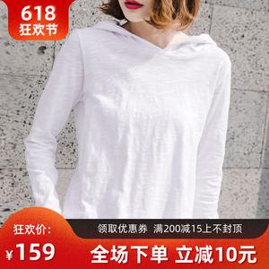 韩国女装2019新款中长款连帽<span class=H>t恤</span>女纯棉长袖上衣竹节棉宽松打底衫