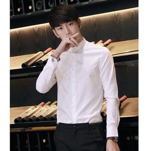 春季英伦立领长袖<span class=H>衬衫</span>男休闲韩版修身青年时尚圆领小领中山装衬衣