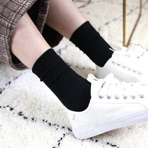 ins韩国日系春季女士纯色基础款糖果色中筒纯棉百搭袜子黑袜潮袜