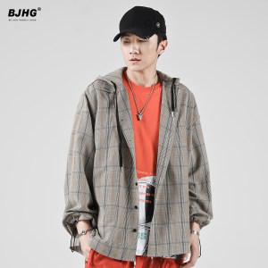 BJHG夏薄款连帽格子衬衫男潮牌英伦风嘻哈宽松假两件长袖<span class=H>衬衣</span>外套