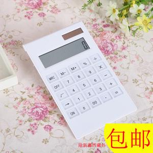 白色简约时尚礼品高端太阳能计算机 12位水晶按键双电源<span class=H>计算器</span>