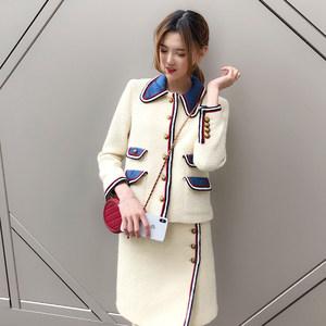 SESE秋冬新品气质白色学院风娃娃领粗花呢短外套<span class=H>半身裙</span>两件套套装
