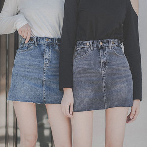 新款防走光牛仔超短裙修身性感包臀裙春装可调节高腰弹力<span class=H>半身裙</span>潮