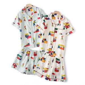 史努比短袖短裤<span class=H>睡衣</span>套装少女夏季新品纯棉纱布可爱卡通全棉家居服