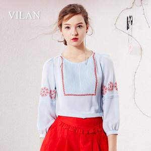 vilan/慧兰专柜正品2019夏季新款七分袖雪纺蕾丝衫韩宽松上衣女