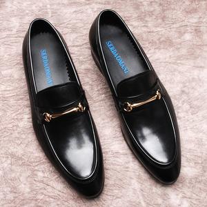 欧美套脚乐福<span class=H>鞋</span>男士英伦休闲皮<span class=H>鞋</span>一脚蹬懒人<span class=H>男鞋</span>真皮尖头潮<span class=H>鞋子</span>