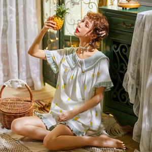睡衣女夏季薄款纯棉韩版学生短袖甜美可爱两件套公主风<span class=H>家居服</span>套装