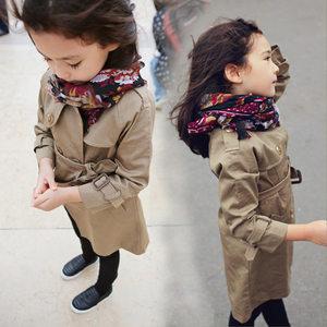 女童<span class=H>风衣</span>外套秋装新款2019童装中大童中长款英伦风儿童双排扣大衣