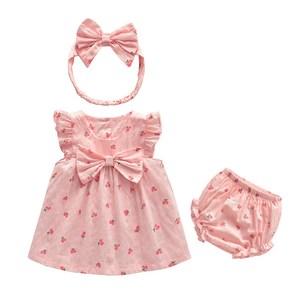 女宝宝夏装<span class=H>连衣裙</span>可爱粉色周岁婴儿礼服公主裙婴幼儿纯棉女童裙子