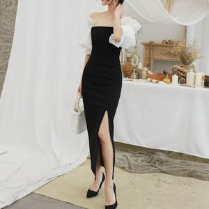 性感宴会礼服裙2019春装新款女装一字领灯笼袖修身开叉黑色连衣裙