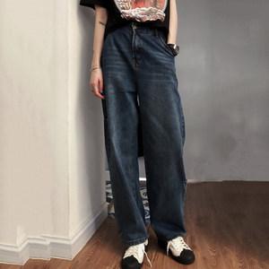 欧美街头潮牌复古<span class=H>牛仔裤</span>男女款显瘦高腰扩阔腿宽松BF直筒小个子