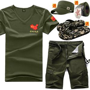 夏季<span class=H>军迷</span>短袖t恤军人衣服饰男套装特种兵休闲野战三件套战狼修身