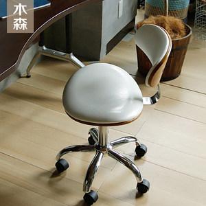 北欧<span class=H>电脑椅</span>简约家用旋转书房皮艺办公椅美式书桌转椅欧式实木座椅
