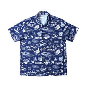 2018SS美式<span class=H>aloha</span> shirt夏威夷衬衫沙滩冲浪主题印花短袖GO SURF