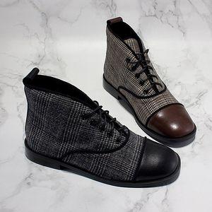 2018年秋冬新款低跟二<span class=H>棉鞋</span>女复古英伦风系带格子拼接高帮加绒女鞋