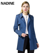 NADINE Pure-colour Pocket Jeans Windsuit Women's Mid-long Overcoat Korean Edition of Self-cultivation College Wind and Spring Cotton Coat