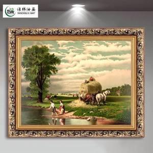 绿牌欧式油画客厅<span class=H>装饰画</span>沙发背景墙画有框玄关挂画壁画可定制风景