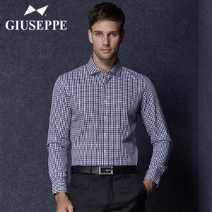 乔治白衬衫纯棉格子商务休闲上衣青年男士秋季新款薄款长袖<span class=H>衬衣</span>