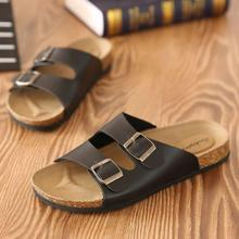 Men Leather flip flops Sandals casual breathable slippers
