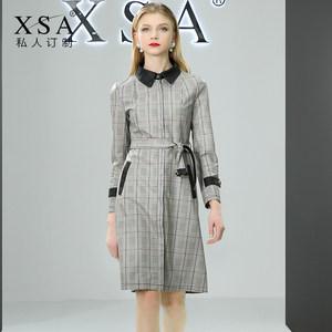 XSA2019春秋新款时尚休闲格子PU皮皮衣女中长款修身收腰<span class=H>风衣</span>外套