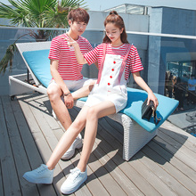 Couple's Summer Clothes 2019 New Ins Super Fire Short Sleeve T-shirt Temperament Summer Student Dresses and Class Suits