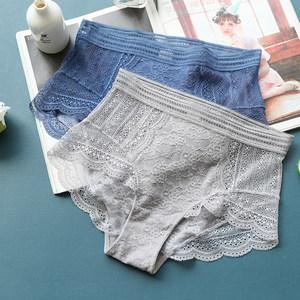 单条装微透纯色蕾丝性感女<span class=H>内裤</span>三角裤中高腰裆纯棉诱惑透气短裤头