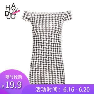 Haoduoyi2017夏季新款女装 时尚简约千鸟格印花修身一字领连衣<span class=H>裙</span>
